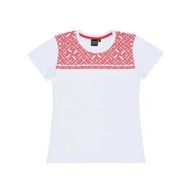 Женская футболка «Северное сияние» белая/алый