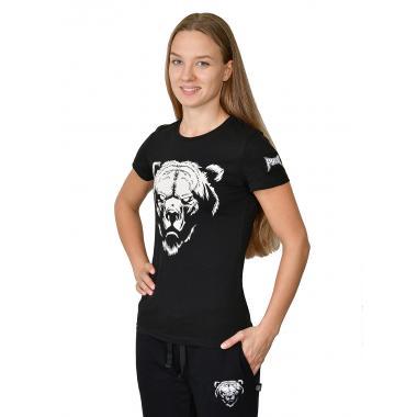 Женская футболка «Медведь» чёрная