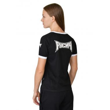 Женская футболка «Медведь» реглан чёрная