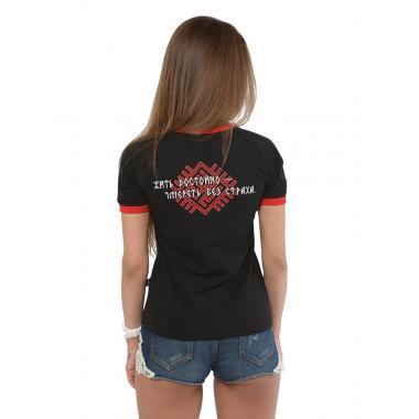 Женская футболка «Доброслав» реглан чёрная